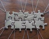8 Silver Puzzle Piece Pendant Necklaces