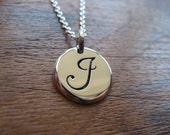 Silver letter J initial Pendant Necklace