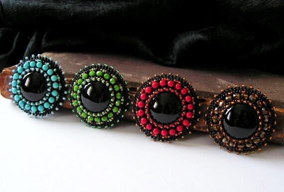Beaded brooch beadwork gemstone by mispearlberry