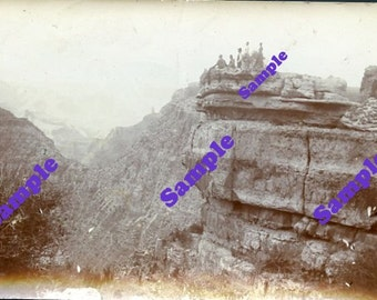 Instant Digital Download-Group on a Precipice vintage photo