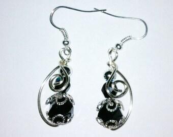 Wire Wrapped Black Bead Cap Earrings