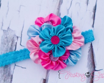 """The """"Cotton Candy"""" Satin Cluster Headband"""