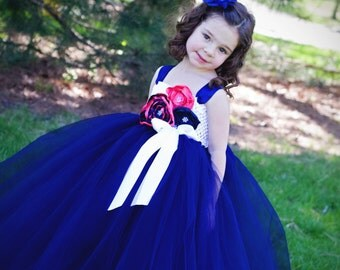 Navy and Coral Tutu Dress- FLower girl