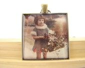 Resin Pendant, Little Girl with Holly, Christmas, Red, Green, Black, White, Grey, Beige, Retro, 1 1/2 Inch, Square, Glitter