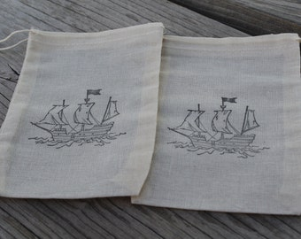 Set of 10 Hand stamped Pirate Ship Kids Birthday Party Favor Muslin Bags 100% organic made in america