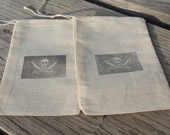 Set of 10 Hand stamped Jolly Roger Flag Pirate Kids Birthday Party Favor Muslin Bags 100% organic made in america