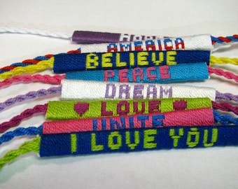 Customizable Friendship Bracelet, Inspirational, Names, or any Word