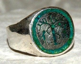 RARE HOPI KACHINA Ring Turquoise Sterling Size 9.5
