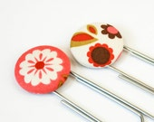 Set of Two Fabric Covered Button Bookmarks, Indian Summer