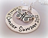 Stamped Jewelry Personalized Jewelry Sterling Silver Cancer Survivor Necklace -  Stamped Mothers Grandmothers Jewelry Necklace