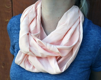 Spring infinity scarf, cowl, neck tie, summer fashion in peach