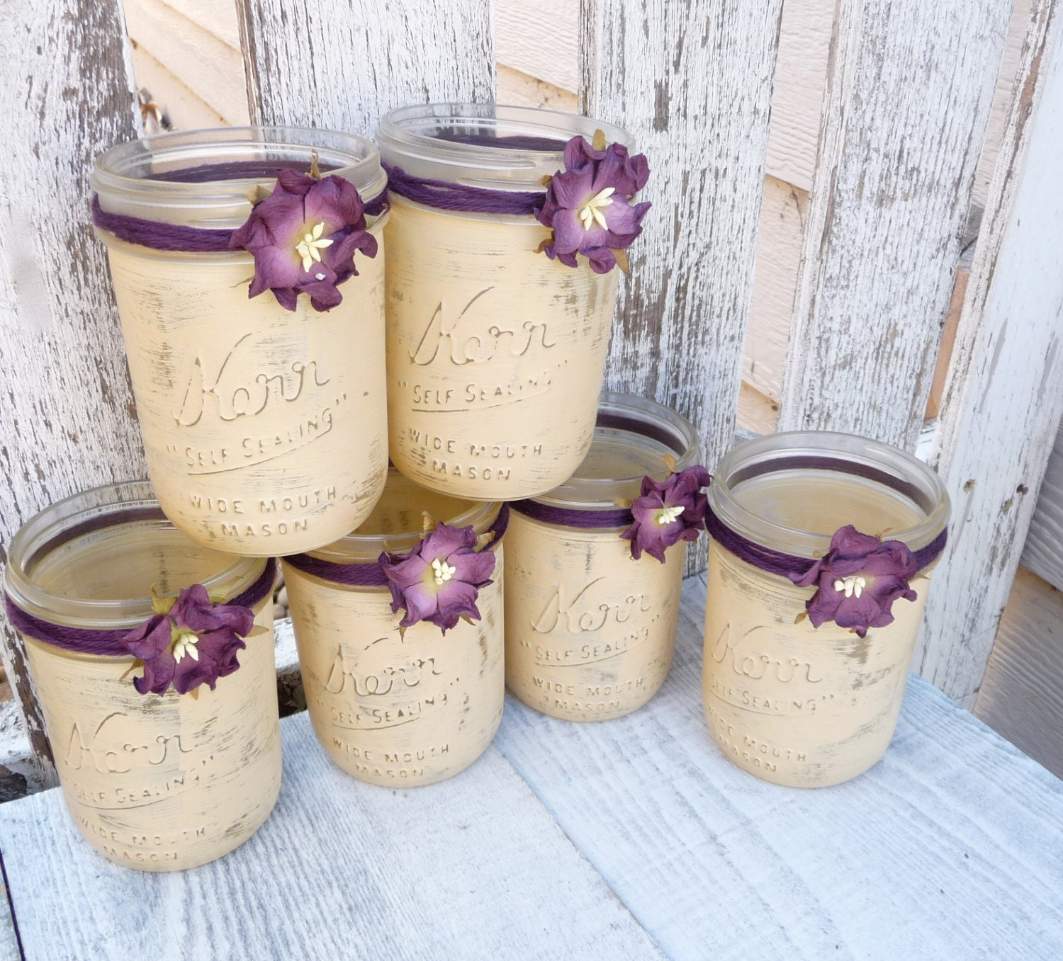 Country Wedding Centerpieces Mason Jars: Rustic Wedding Jars Shabby Chic Country By HuckleberryVntg