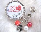 Personalized ID Badge Reel RN Np Lmt  Nicu  Bsn Cardiac Nurse Cardiologist MD Badge Reel, Cardiac Rn Badge Reel Holder Pull Clip, Ecg