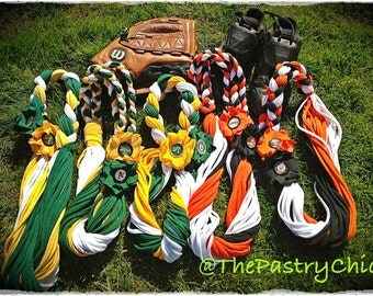 Customizable Team Pride Scarf/Necklace/Neckwear/Lei using Upcycled T-Shirts - San Francisco Giants, Oakland A's, SF 49ers, Miami Dolphins