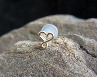 16 gauge 14k gold filled Infinity Heart  bio flexible Tragus