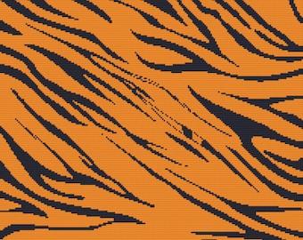 Modern cross stitch kit Tiger print