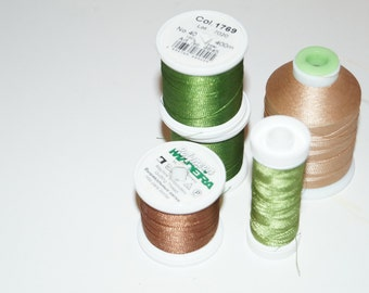 Lot of 3 Madeira Embroidery Thread. Earth tone Colors, 400M, PolyNeon 40 Sulky