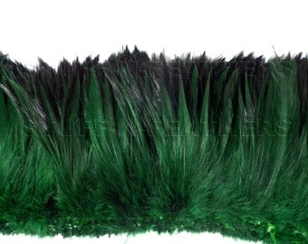 Wholesale / bulk feathers - Moss green rooster furnace hackle feathers, real feather for millinery, crafts / strung 10 in (25 cm) / FB121-4