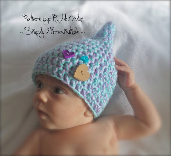 Crochet Pattern Baby Pixie Hat : Gnome Pixie Elf Hat Crochet Pattern 24 Newborn to 12