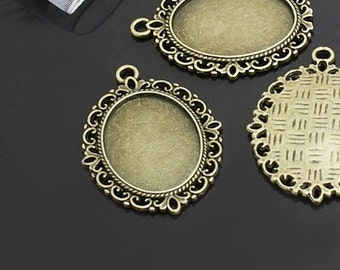 FREE SHIPPING within USA, 5 pcs Antique Bronze Oval Cabochon settings, inner tray 18x25mm (1 inch)