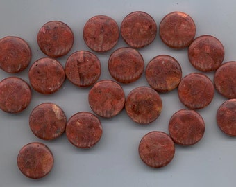21 coral beads - gorgeous dark reddish brown color - 20 mm flat rounds