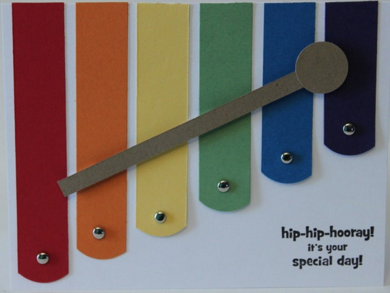 Happy Birthday Xylophone card for girl or boys First Birthday Stampin Up