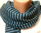 Stripped Blue Navy Blue Cool Men Scarf, Unisex Scarf, Fathers day