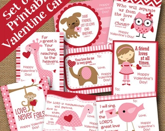 Girls Valentines | DIY PRINTABLE | Scripture, Bible Verse Card | Classroom Valentines | Kids Valentine | SET of 8 Designs | Instant Download