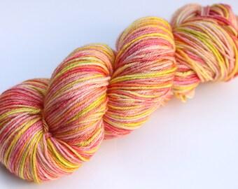 "Kettle Dyed Sock Yarn, Superwash Merino and Silk Fingering Weight, in ""Ripe Mango"""