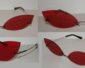 Red strech cosplay costume glasses V3