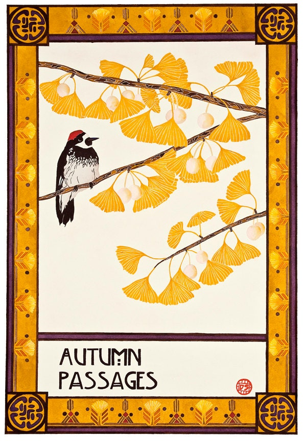 Mission Arts And Crafts Style Art Of Ginkgo Tree Autumn