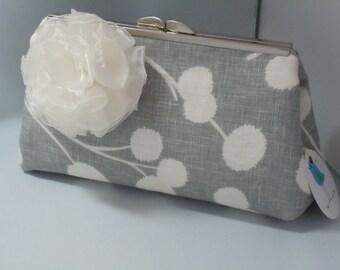 Grey and Ivory Wedding Clutch, Bridal Clutch, Prom Clutch