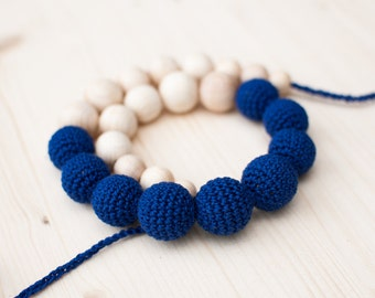 Nursing necklace / Teething necklace - BLUE - Eco-friendly, Natural