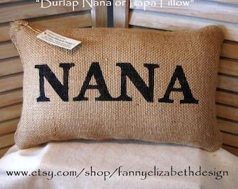 Grandparents' Pillows FREE SHIPPING - Burlap Pillows- Decorative Pillow- Nana - Burlap Mother Pillow- Mother Pillows- Grandparents Gift