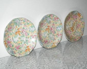 Set of three chintz saucers made by Barker Bros. Tudor Ware Longton Staffs England yellow