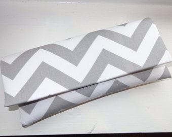 Light Gray Chevron Clutch- Wedding Clutch, Bridesmaid Clutch, Gray Clutch
