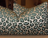 "Custom for Suzanne - Beacon Hill Emerald ""CHEETAH"" Belgium Cut Velvet Custom Bolster Pillows Pair  - 13"" by 24"""
