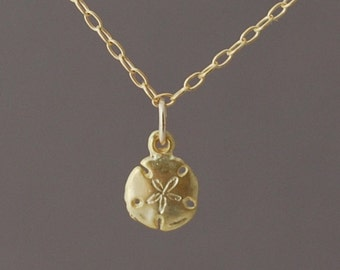 Tiny Gold Sand Dollar Necklace also in silver