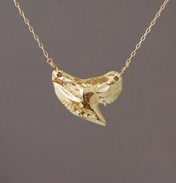 gold shark tooth necklace by jennyandjude on etsy