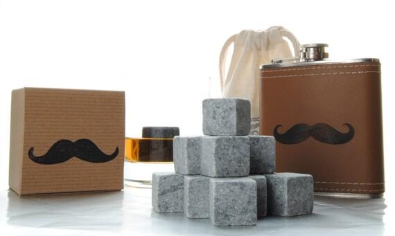 5 Groomsman Polar Stones Whiskey on the Go Whiskey Rock and Flask Kits