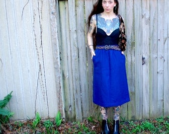 Vintage // Blue Wool 70's High Waist Skirt with Pockets // Size 6 // Gypsy Glam