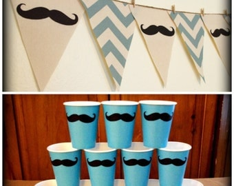Mustache Banner and 12 Cups-Little Man Party-Mustache Party-mustache bunting-Baby Shower Banner-Party Banner -Blue Chevron-Mustache Cups