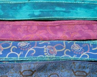 Silk Sari Ribbon, Silk Trim, 4 colors, B12