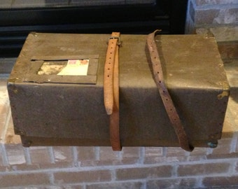 Antique Shipping Box  Fiberboard Mailing Box  Vintage Suitcase  Fiberboard Crate  Industrial Storage  Pasteboard Crate