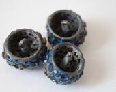 Lot of Three Antique Cast Iron Buttons WIth Blue Rhinestones - 1930's, Sewing Materials For MOM Grandma