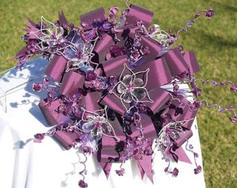 Purple Bridal Bouquet and Matching headpiece,Crystals, Silk Flowers, Destination Wedding, Fabric Bouquet, Non Traditional, Quinceanera