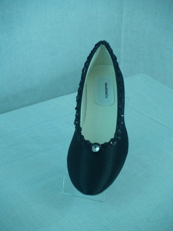 wedding flats shoes black satin dressy comfortable by newbrideco