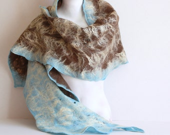 Women felted scarf cobweb felt wool silk shawl - brown blue