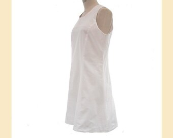 Vintage 1990s dress in white cotton by 'Whistles' in sleeveless A-line style, shift dress, UK size 12 to 14