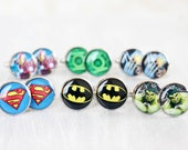 Wedding mens cufflinks - set of Groomsmen gifts - Comic Superhero - Superman, Batman, Green Lantern, Wolverine, The Hulk, Iron Man